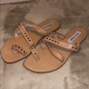 Steve Madden Nude Leather Strappy Sandals
